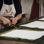 hand painting a bespoke tablelcoth
