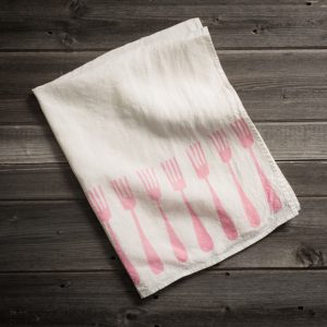 fine linen tea towel 'forchette' stamperia bertozzi, allorashop