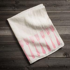 fine linen tea towel 'forchette' stamperia bertozzi, allorashop