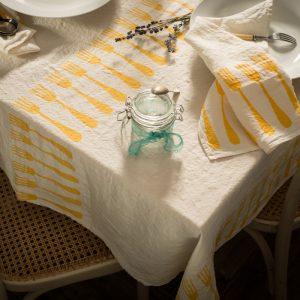 Fine linen tablecloth 'forchette' Stamperia Bertozzi, AllORA