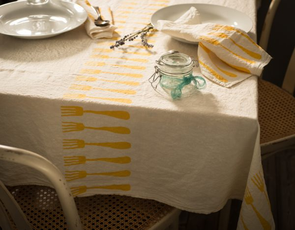 Fine linen tablecloth 'forchette' Stamperia Bertozzi, AllORA