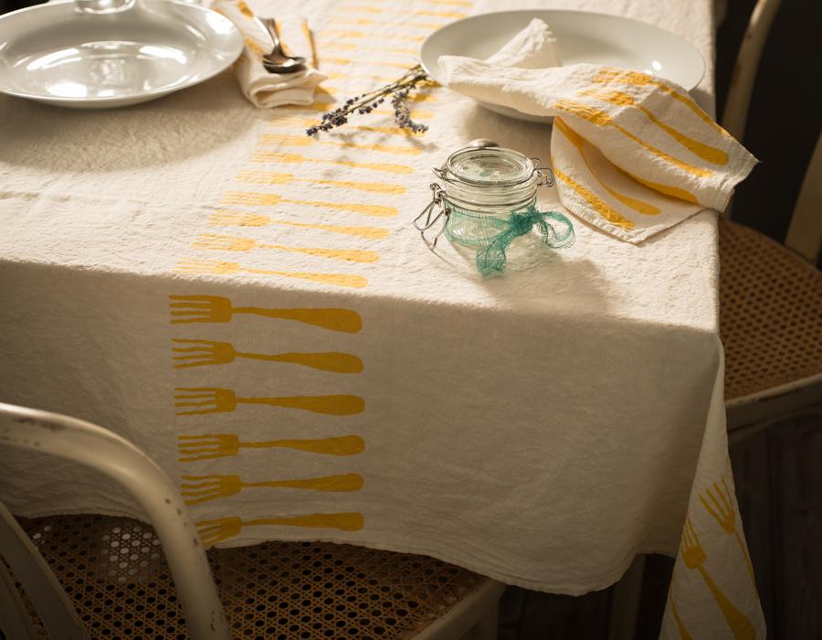 Hand Printed Italian Tablecloth Forchette Yellow Allora
