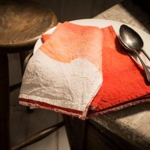 fine linen napkin coral colour