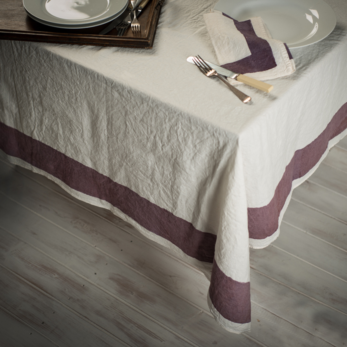 Hand Painted Italian Tablecloth Plum