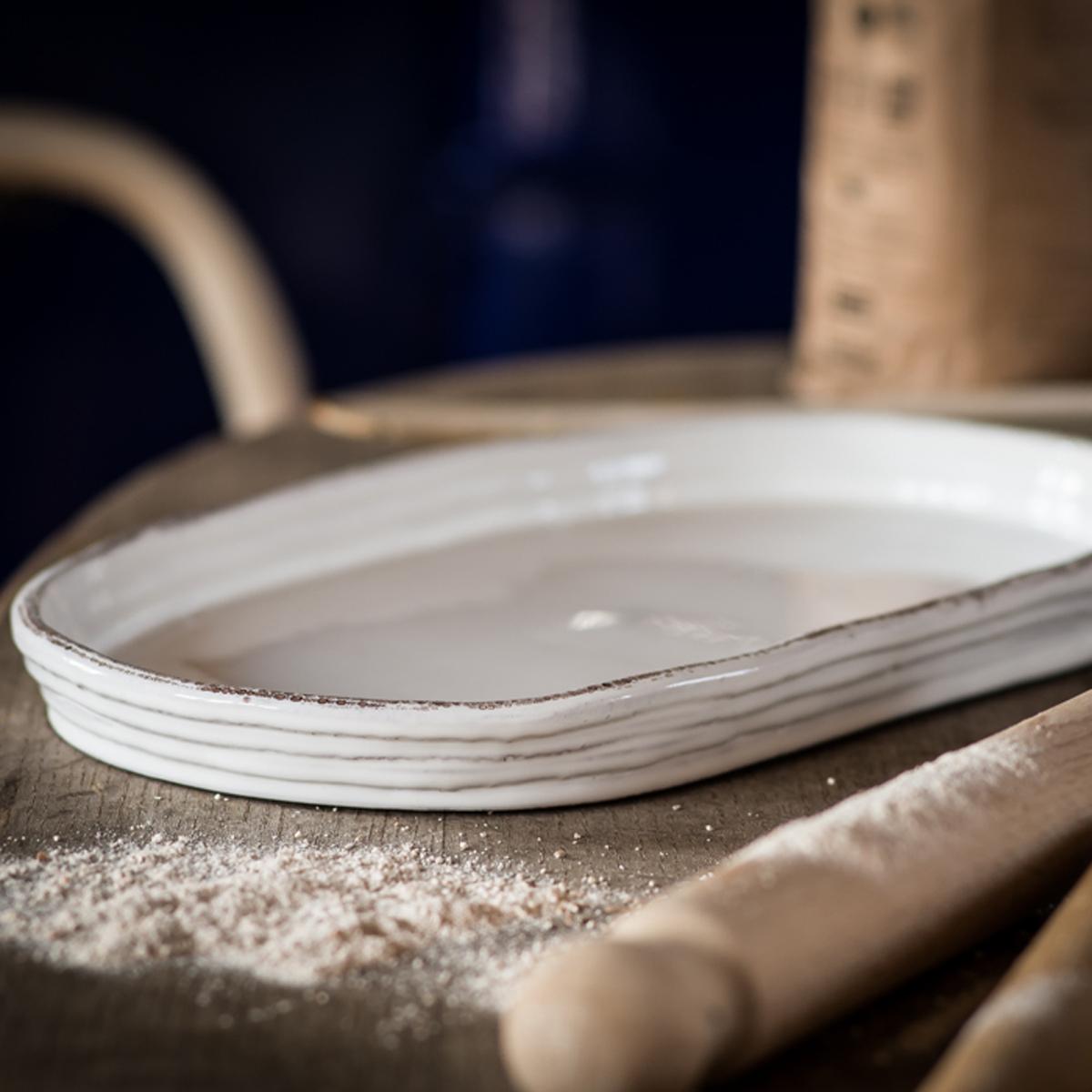 Handmade ceramic baking tray oval white for White ceramic bathroom tray