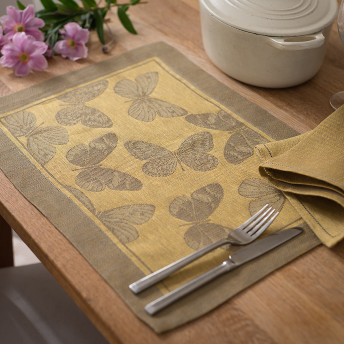 Italian Placemat And Napkin Butterfly Yellow Allora