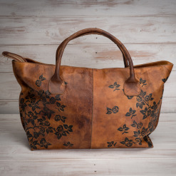 tan leather tote bag by bertozzi