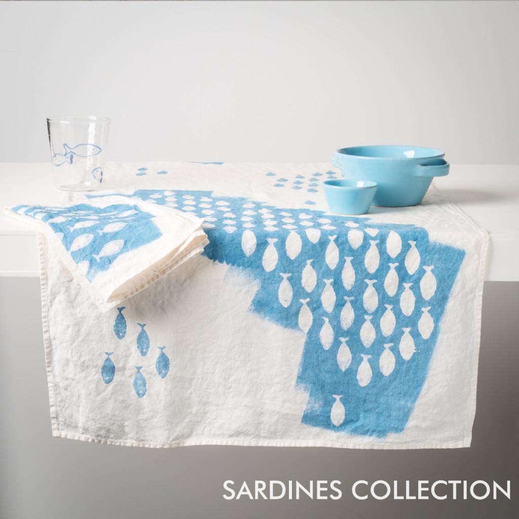 bertozzi blue linen table runners