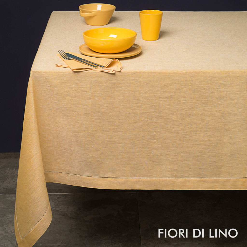 tessitura pardi yellow linen tablecloths