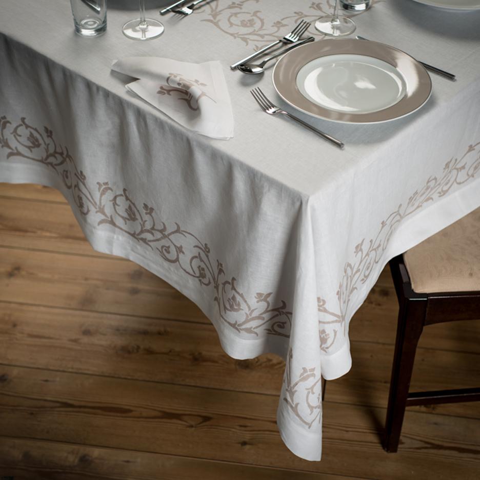 Hand Printed Italian Tablecloth Bocciolo Allora