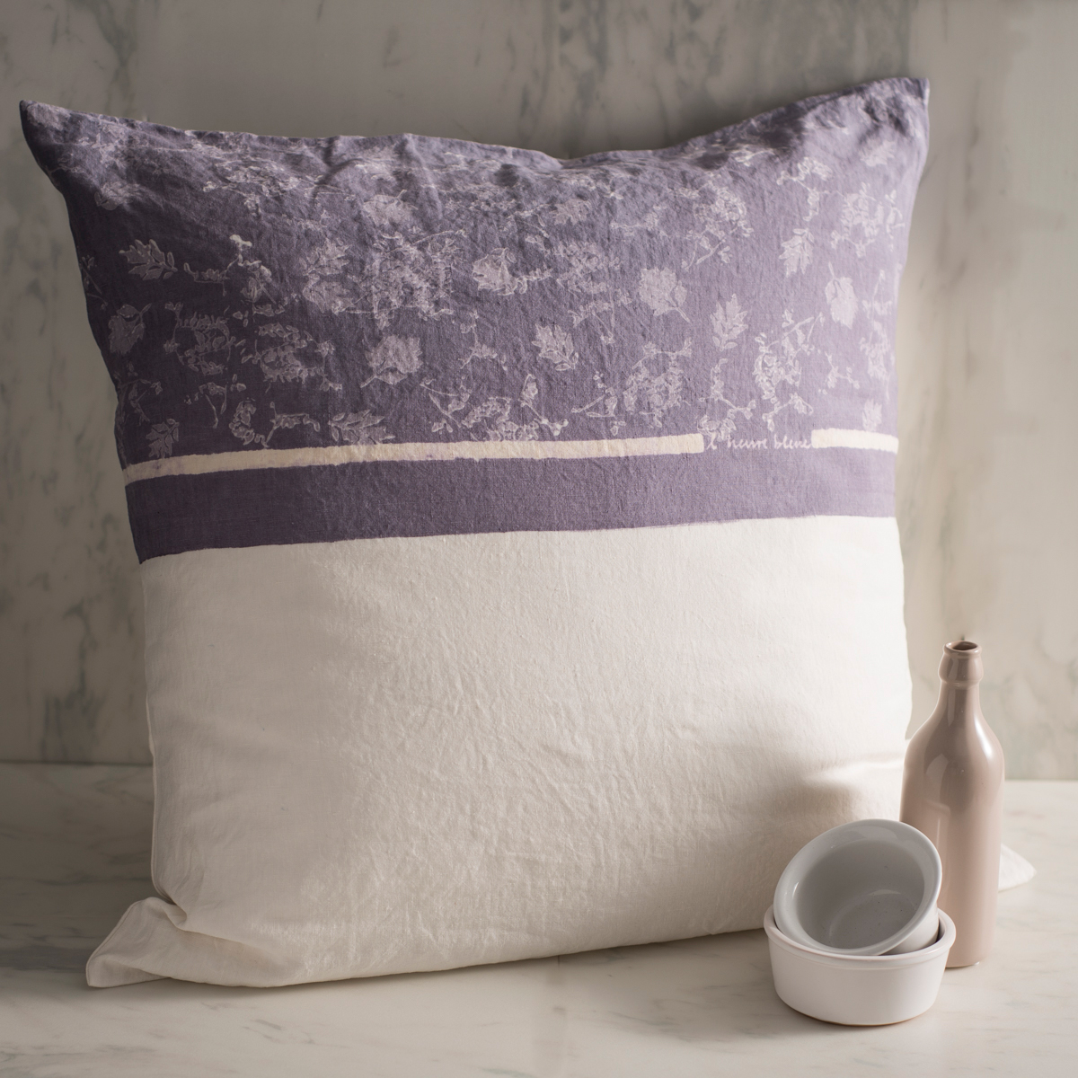 Artisan hand painted linen cushion cover large foglia for Hand painted pillows