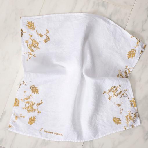 allorashop Hand-Printed White Linen Napkins