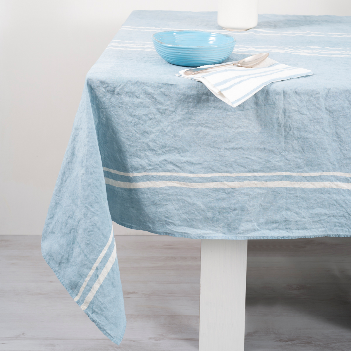 Handcrafted Italian Linen Tablecloth Linea Blue AllORA