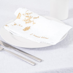 allorashop Hand-Printed White Linen Napkins