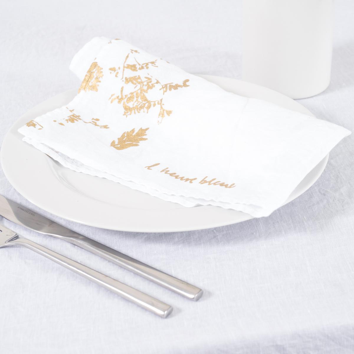 Hand Printed White Linen Napkins Gold All 211 Ra