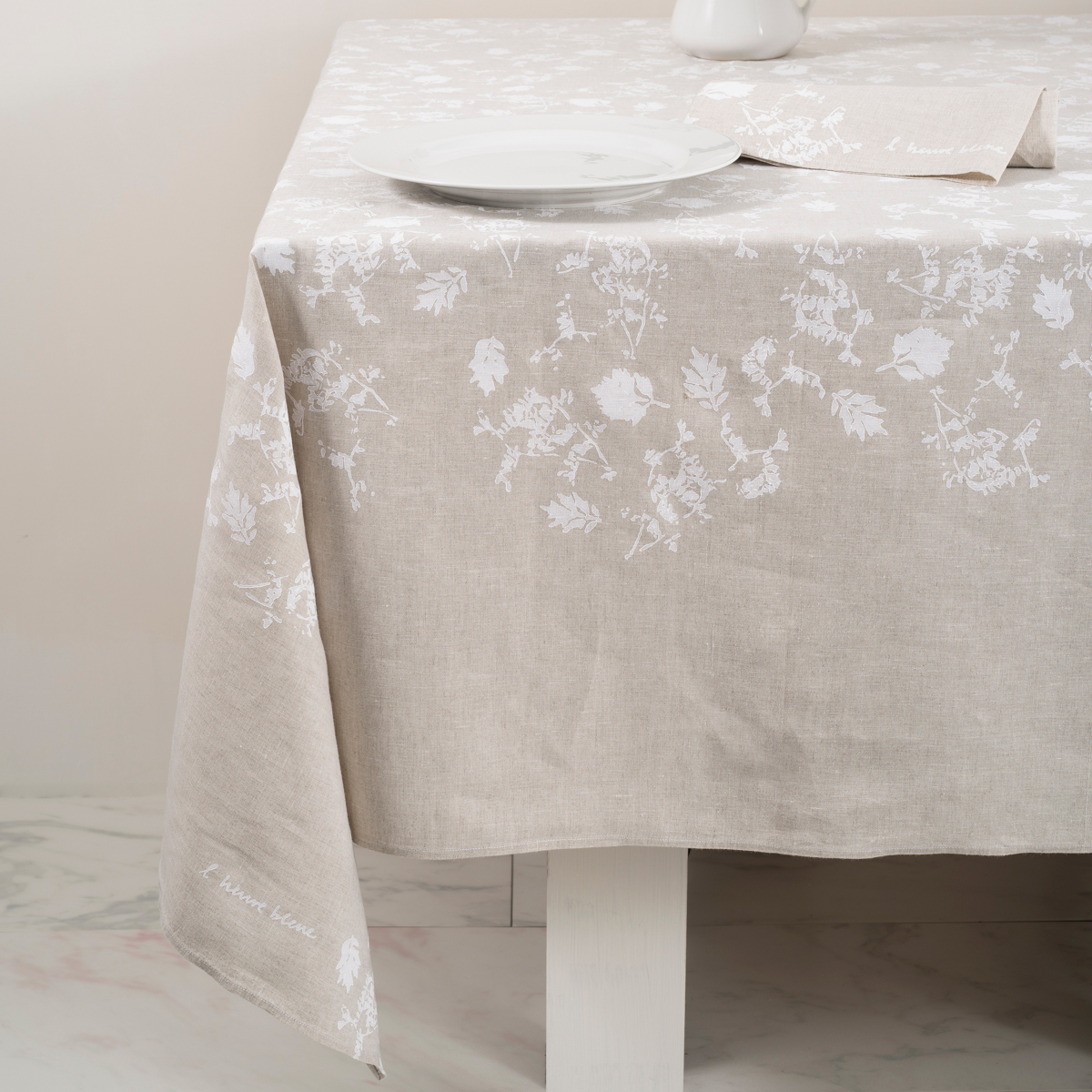 Hand Printed Italian Tablecloth Foglia All 211 Ra