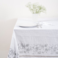 allorashop Hand-Printed Italian Linen Tablecloth