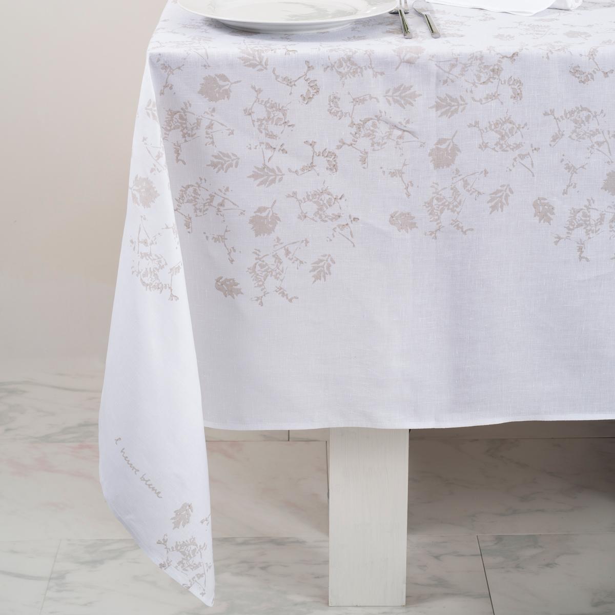 Hand Printed Italian Tablecloth Foglia White Allora