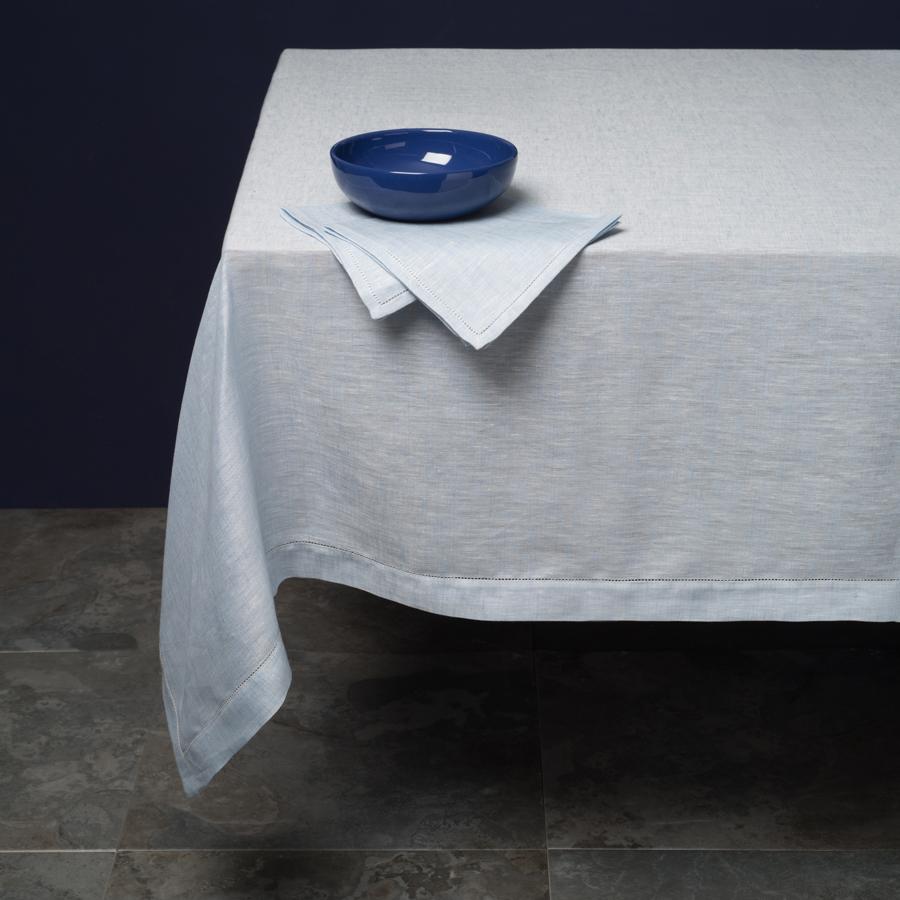 Italian Tessitura Pardi blue linen tablecloth, Fiore di Lino design