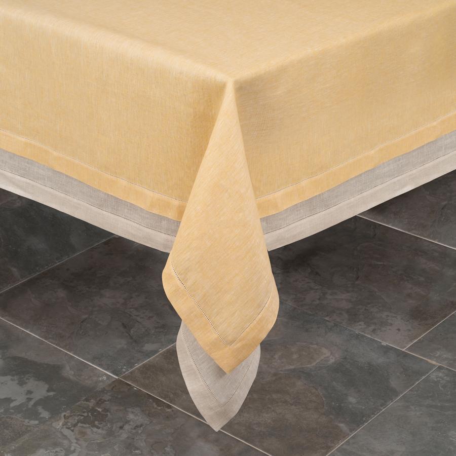 Hand Woven Italian Yellow Linen Tablecloth Fiore Di Lino