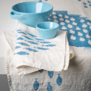 hand printed quirky napkins blue sardines