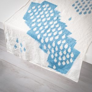 indigo linen table runner sardines