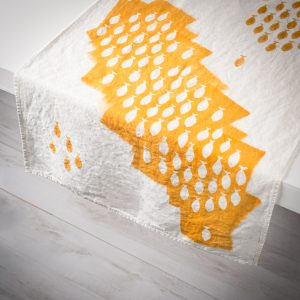 mustard linen table runner sardines