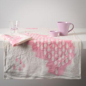 pink linen table runner sardines