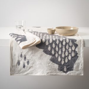 grey linen table runner sardines