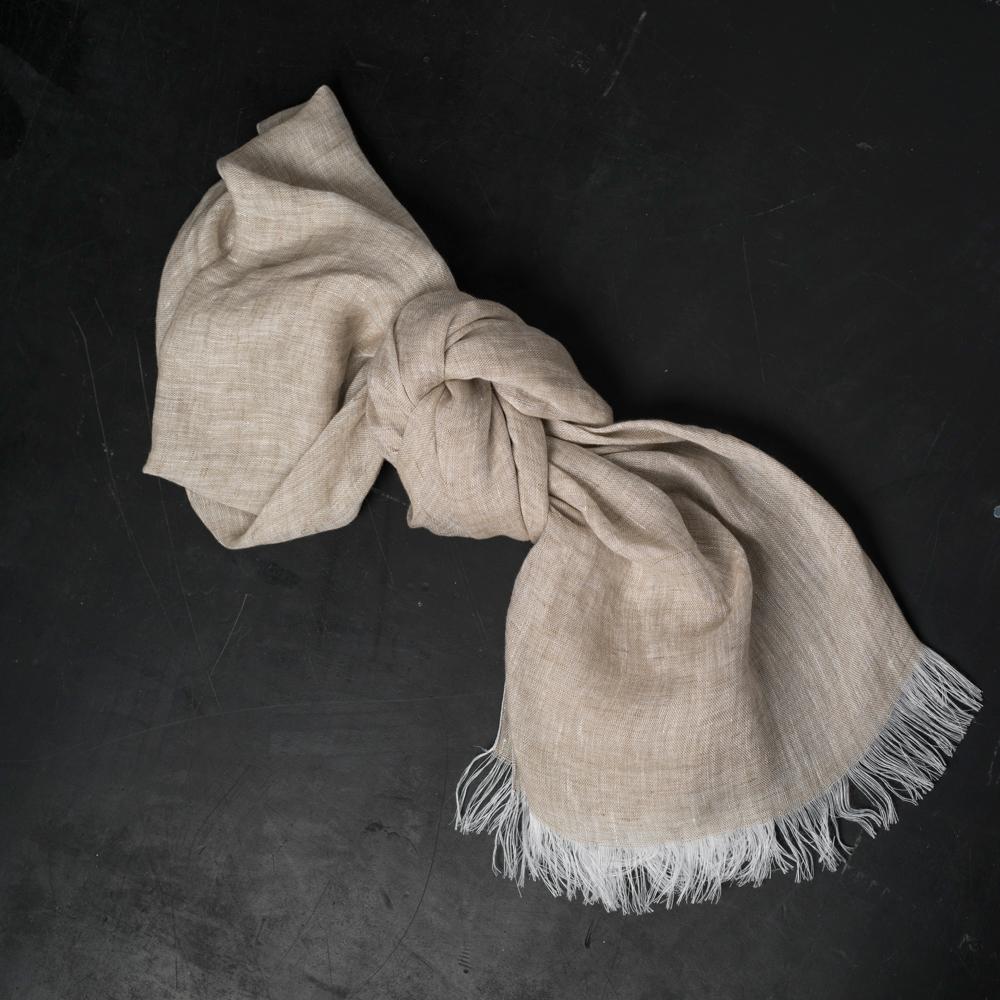 Italian Artisan Gauze Linen Scarf Natural Allora