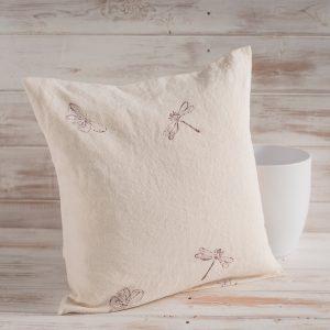 block printed linen cushions