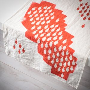 coral linen table runner sardines