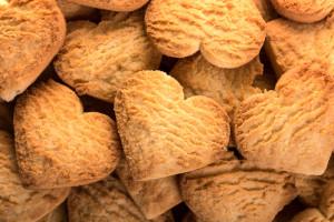 Valentine heart shaped biscuits