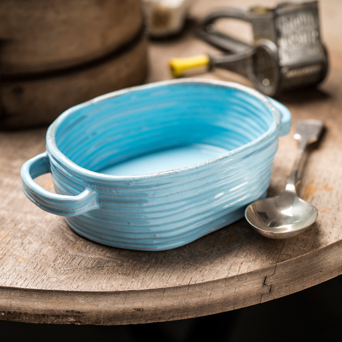 Handmade Ceramic Oval Pie Dish – Blue