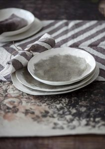 Handpainted linen tableware