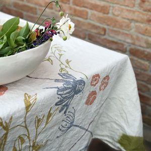 hand printed italian linen tablecloth floral