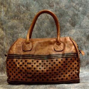 leather handbags polka dots