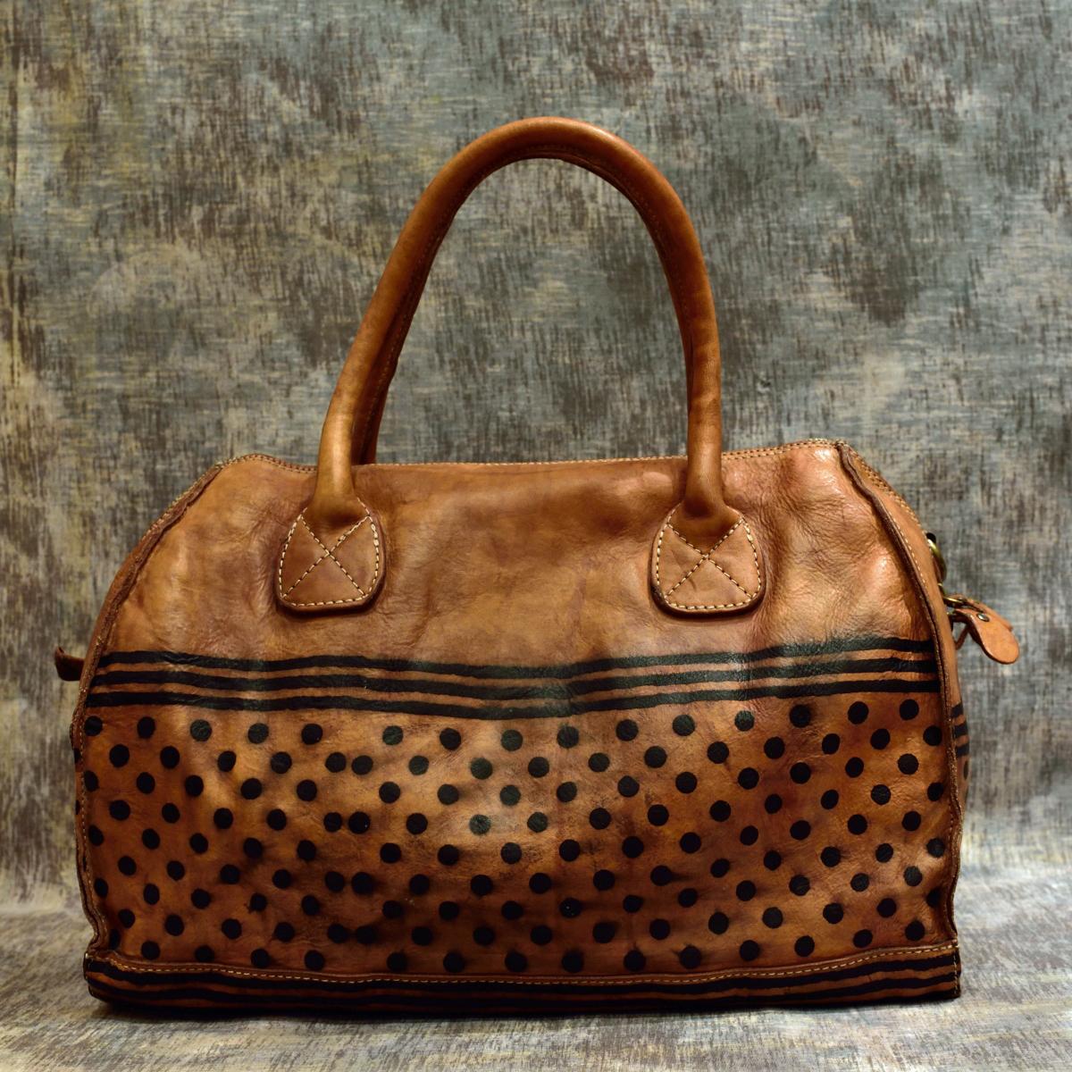 leather handbags polka dots