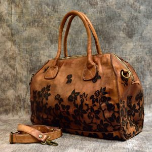 leather handbag roses