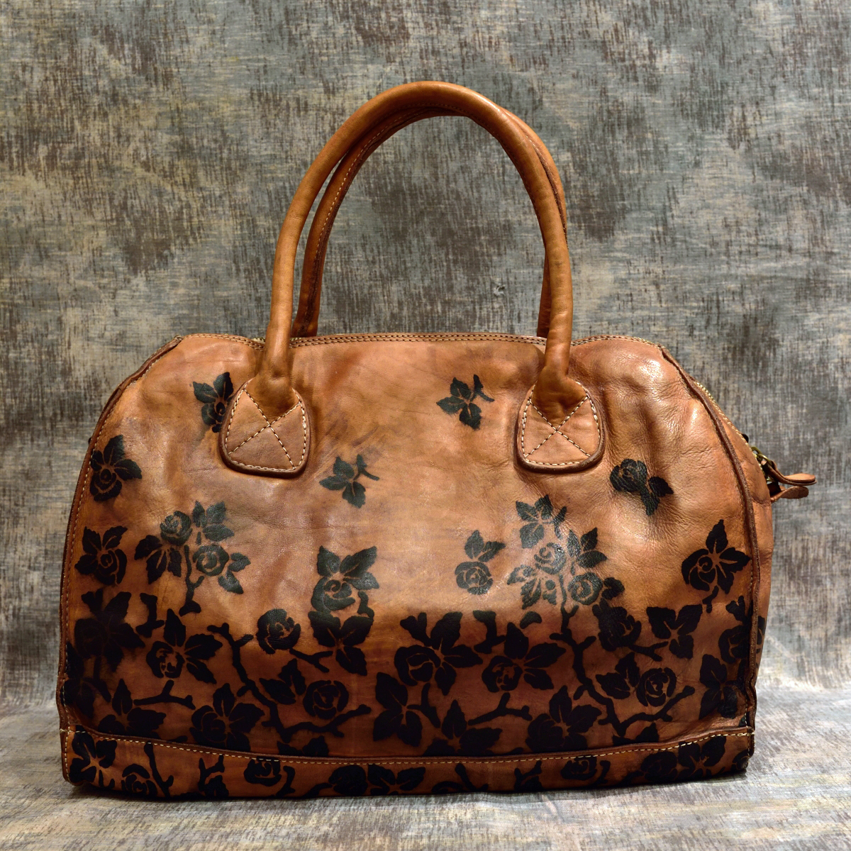 leather hanbag roses