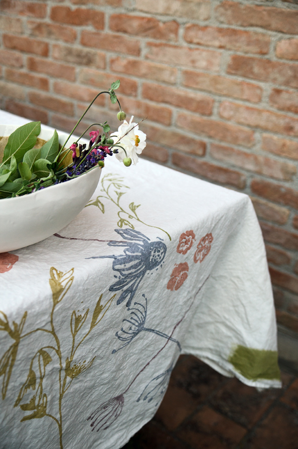Hand printed linen tablecloth