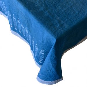 hand painted linen seaside style tablecloth