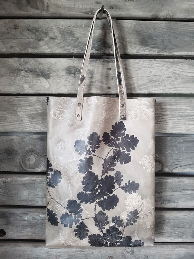 printed italian leather bag
