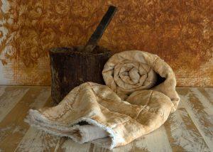 linen quilted blanket rust