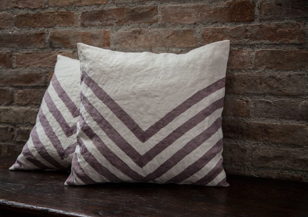 hand painted linen cushion cover Bertozzi