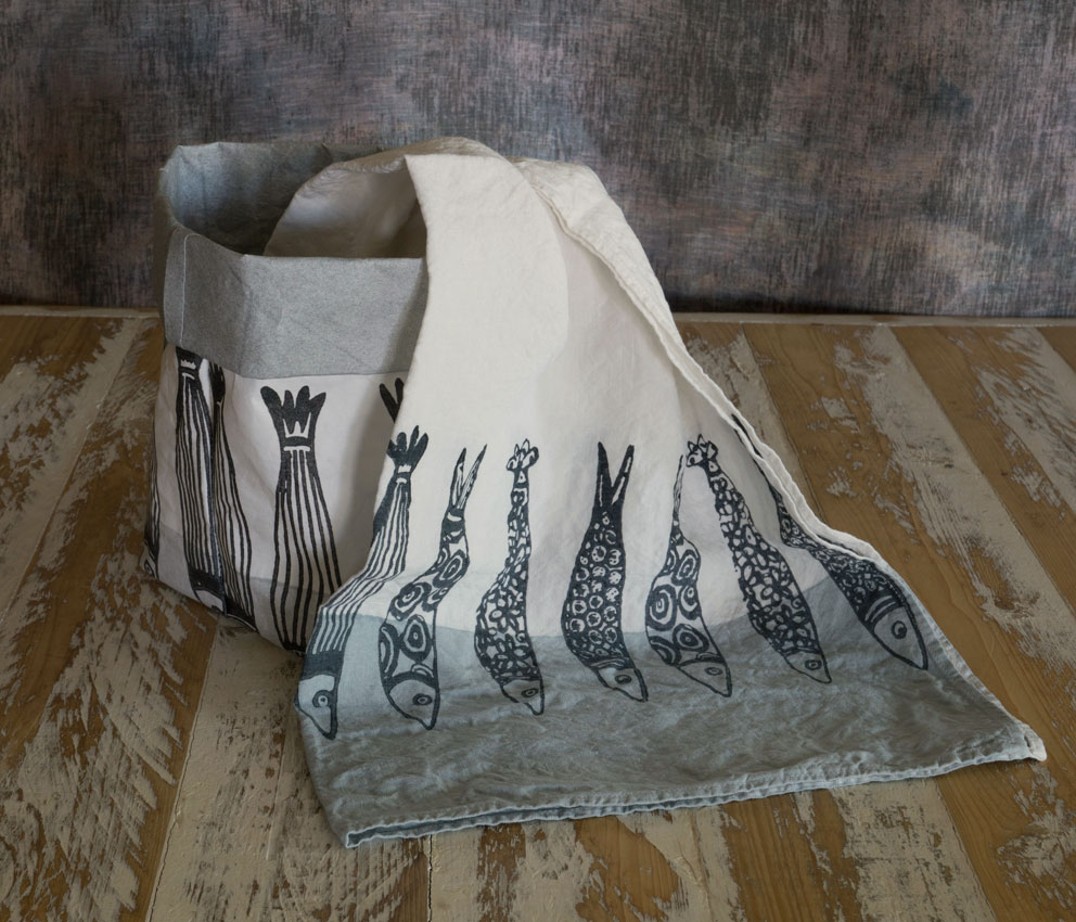 grey fish linen tea towel Bertozzi