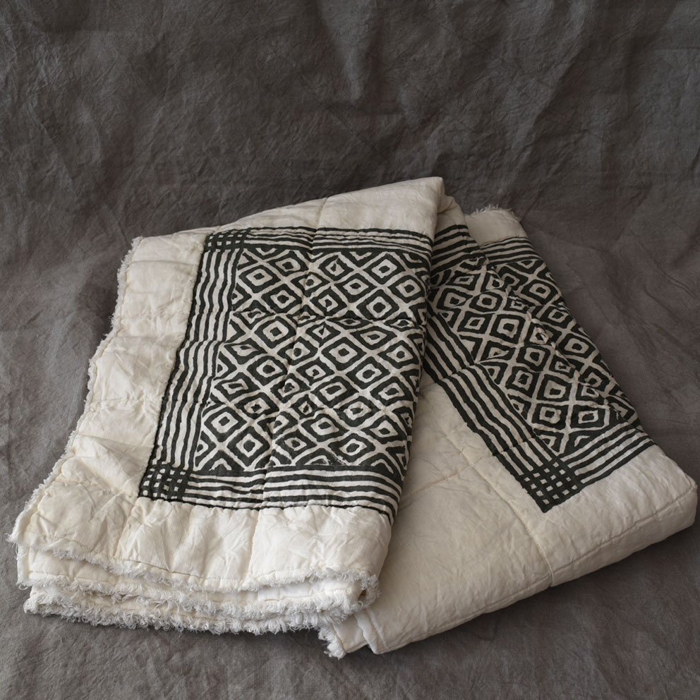 linen quilted throw