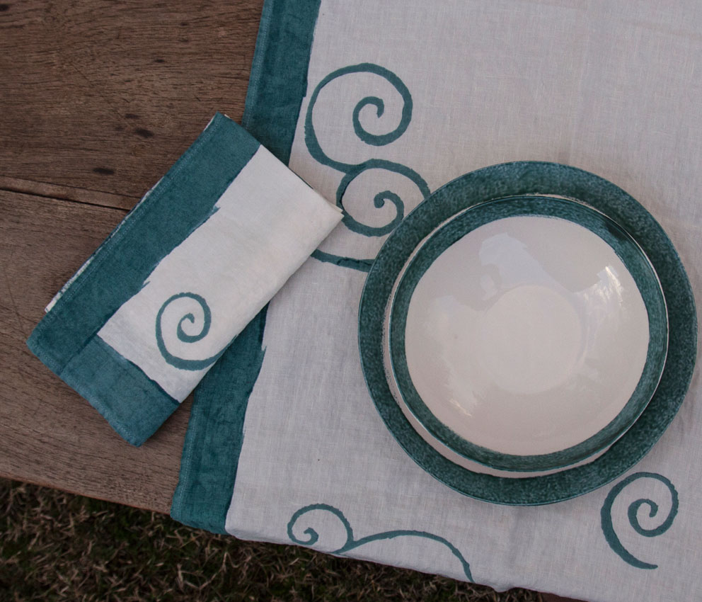 Hand painted linen napkins Bertozzi