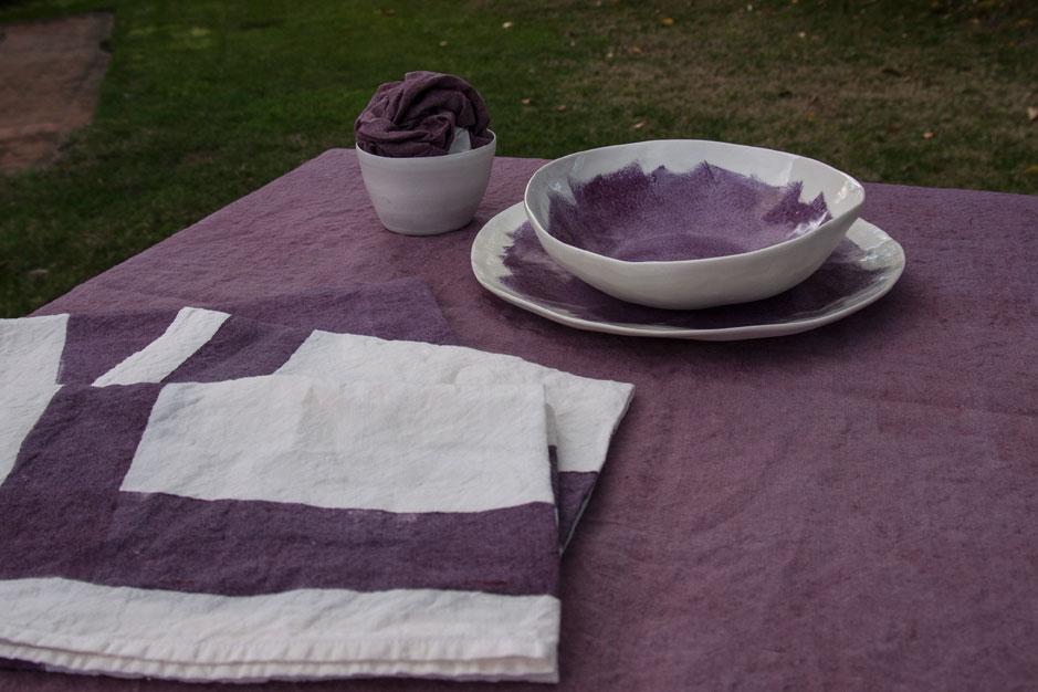 handmade porcelain table setting purple