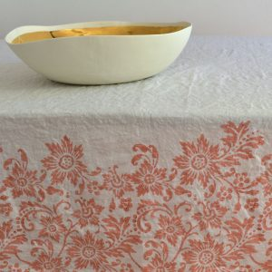 coral linen tablecloth Bertozzi